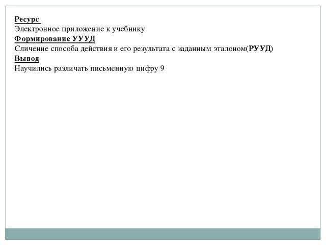 Ресурс Электронное приложение к учебнику Формирование УУУД Сличение способа д...