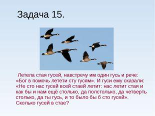 Задача 15. Летела стая гусей, навстречу им один гусь и рече: «Бог в помочь ле