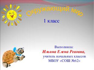 1 класс Выполнила: Ильина Елена Ревовна, учитель начальных классов МБОУ «СОШ