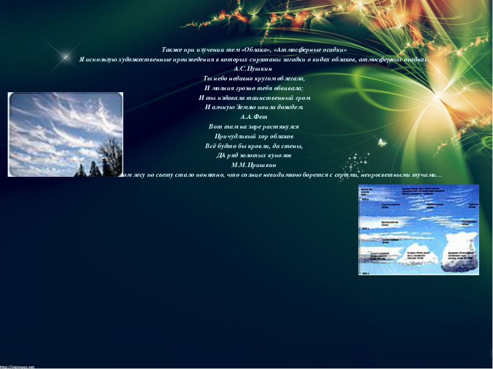 Также при изучении тем «Облака», «Атмосферные осадки» Я использую художестве...