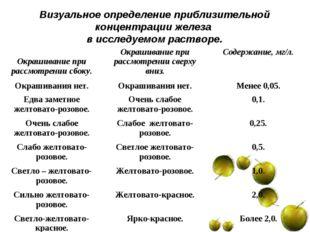 Визуальное определение приблизительной концентрации железа в исследуемом раст