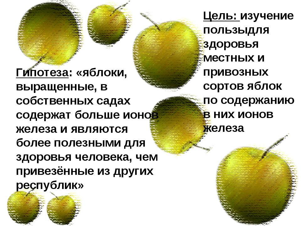 Гипотеза: «яблоки, выращенные, в собственных садах содержат больше ионов желе...