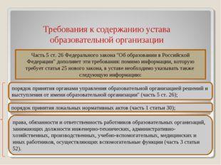 Требования к содержанию устава образовательной организации * Часть 5 ст. 26