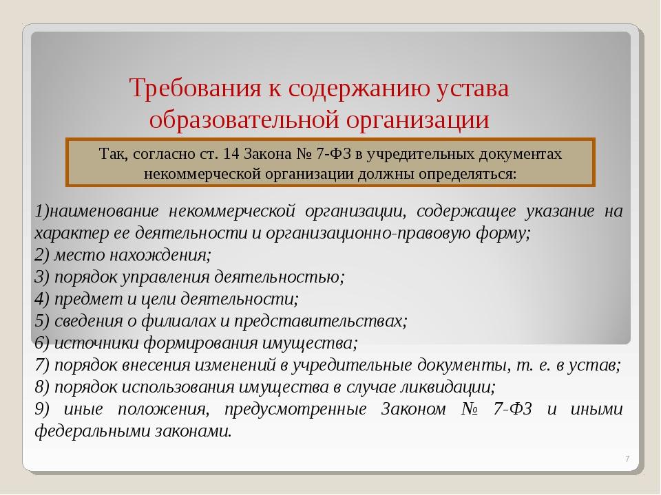 Требования к содержанию устава образовательной организации 1)наименование не...