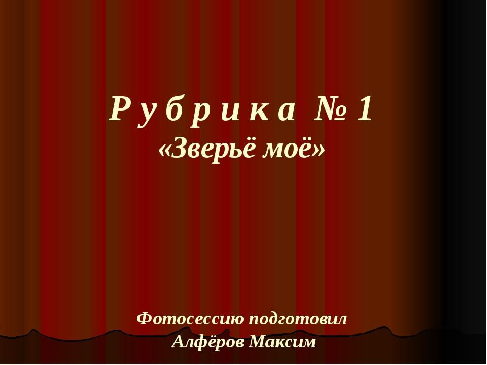 Р у б р и к а № 1 «Зверьё моё» Фотосессию подготовил Алфёров Максим