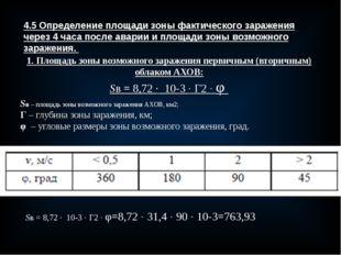 4.5 Определение площади зоны фактического заражения через 4 часа после аварии