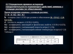 4.2 Определение времени испарения (продолжительности поражающего действия) ам