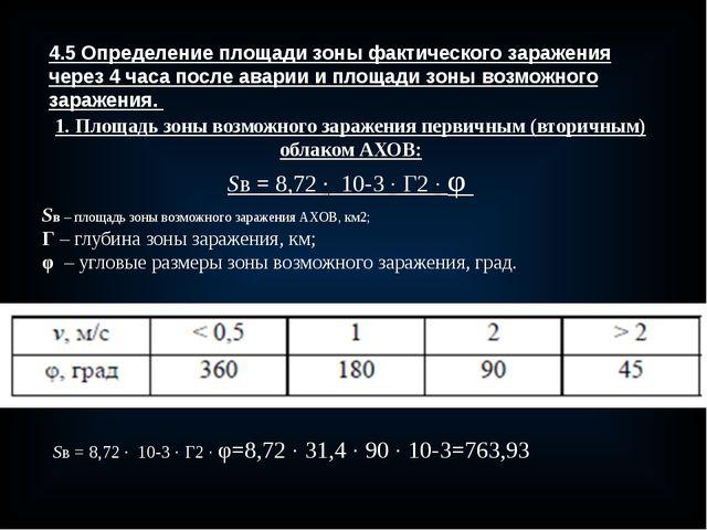 4.5 Определение площади зоны фактического заражения через 4 часа после аварии...