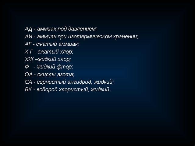 АД - аммиак под давлением; АИ - аммиак при изотермическом хранении; АГ - сжат...
