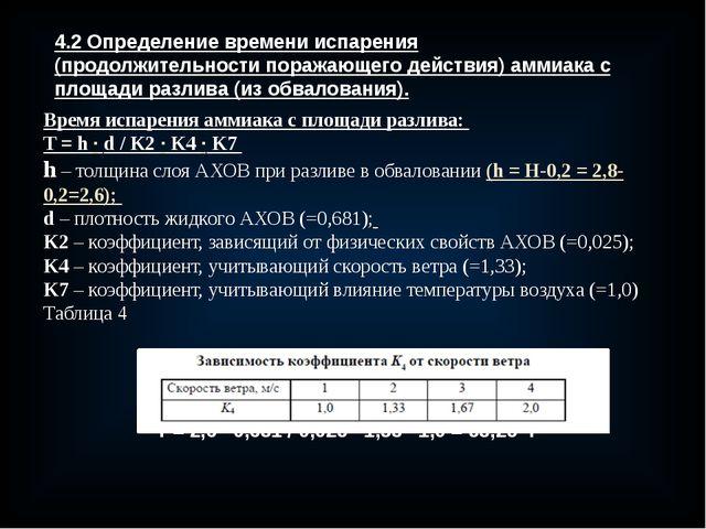 4.2 Определение времени испарения (продолжительности поражающего действия) ам...