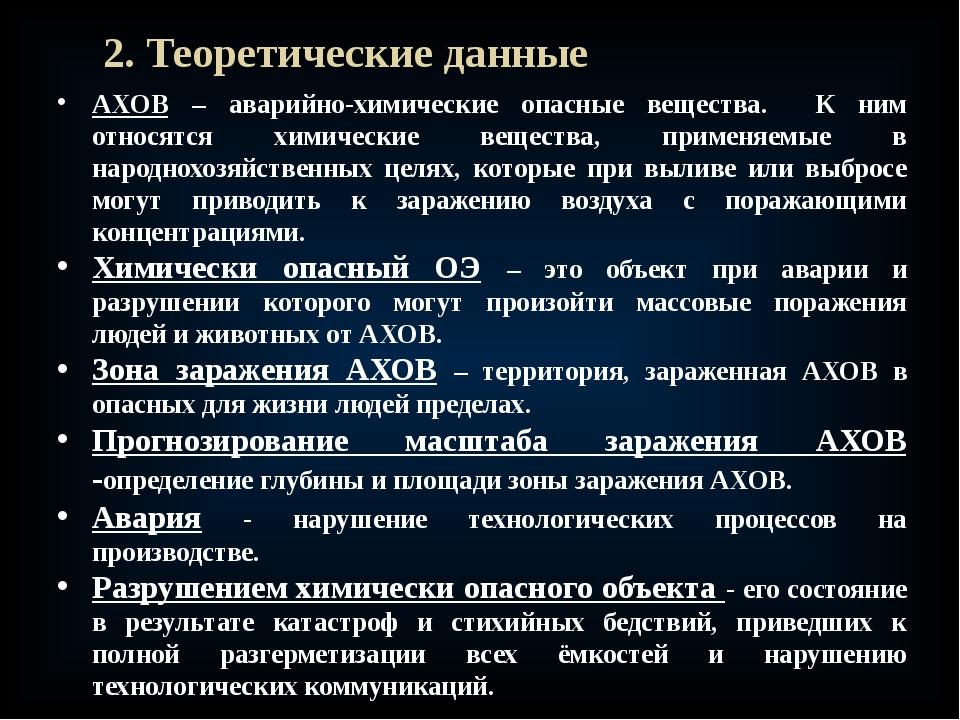 2. Теоретические данные АХОВ – аварийно-химические опасные вещества. К ним от...