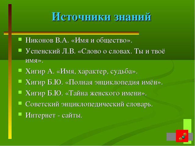 Источники знаний Никонов В.А. «Имя и общество». Успенский Л.В. «Слово о слова...