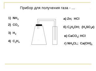 1) NH3 2) CO2 3) H2 4) C2H4 a) Zn; HCl б) C2H5OH; (H2SO4к) в) СaCO3; HCl г) N