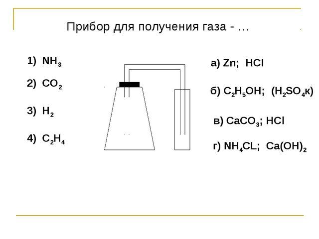 1) NH3 2) CO2 3) H2 4) C2H4 a) Zn; HCl б) C2H5OH; (H2SO4к) в) СaCO3; HCl г) N...