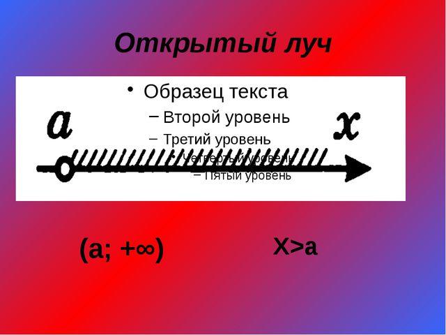 Открытый луч (а; +∞) X>a