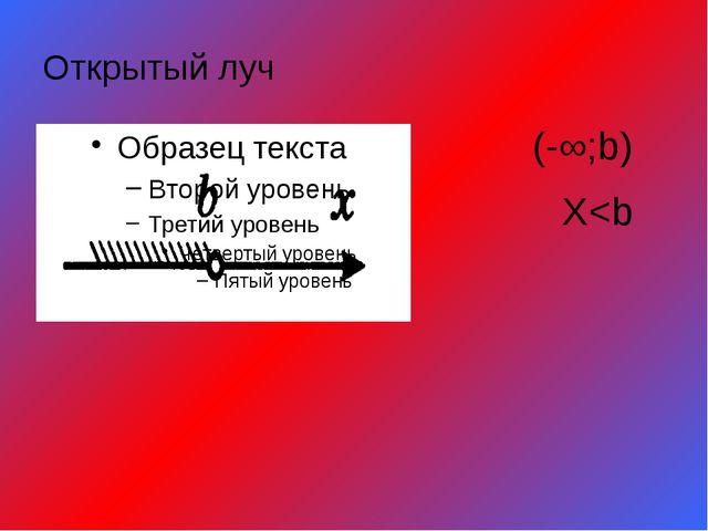 Открытый луч (-∞;b) X