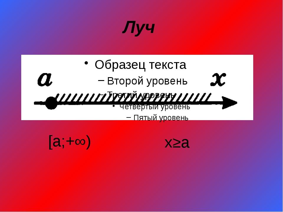 Луч [a;+∞) x≥a