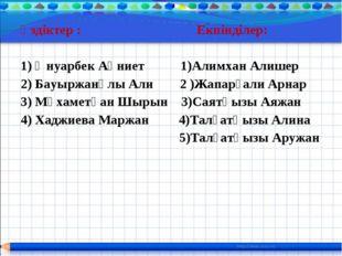 Үздіктер : Екпінділер: 1) Әнуарбек Ақниет 1)Алимхан Алишер 2) Бауыржанұлы Али