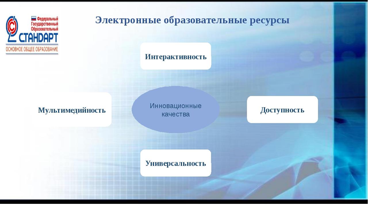 Электронные образовательные ресурсы Инновационные качества Универсальность Ин...