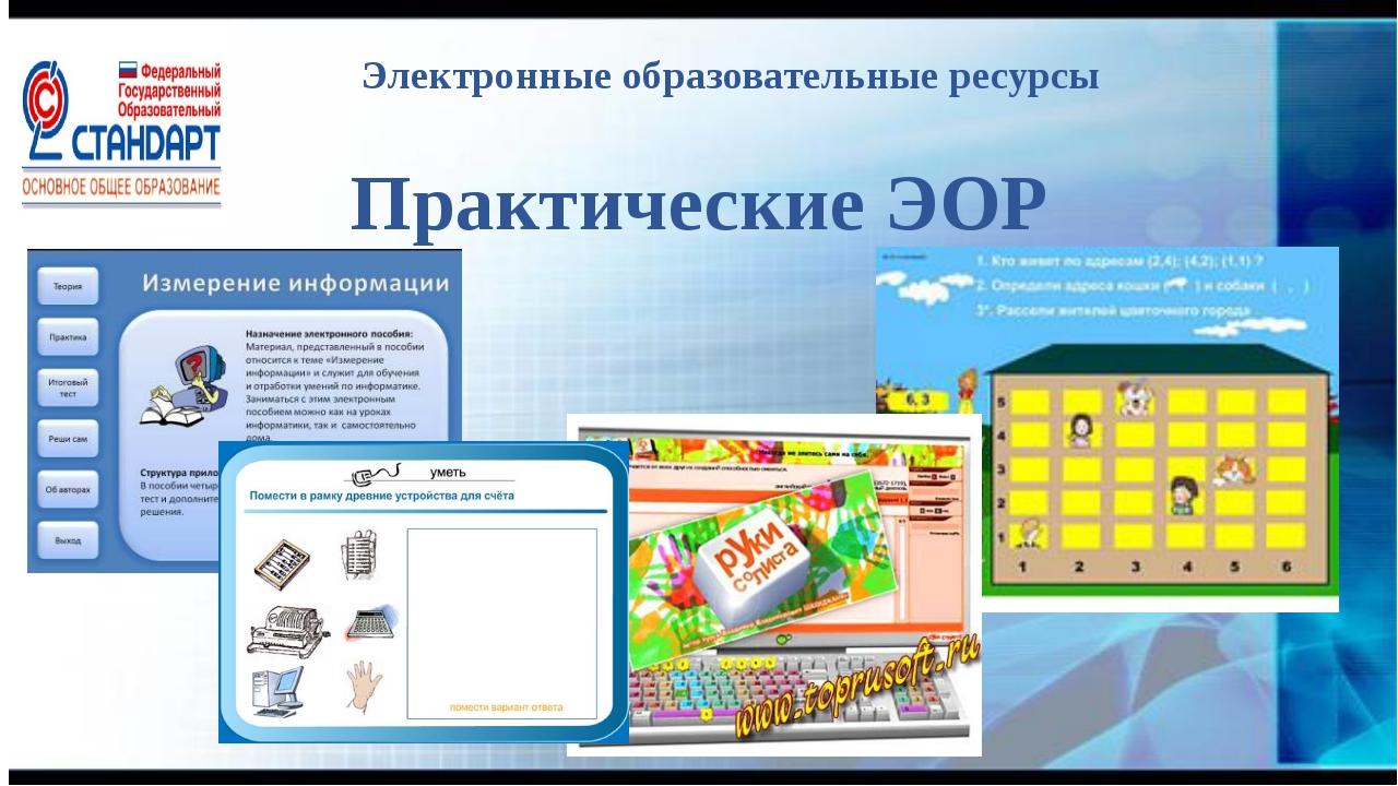 Электронные образовательные ресурсы Практические ЭОР