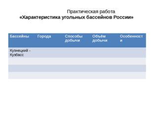 Практическая работа «Характеристика угольных бассейнов России» Бассейны Г