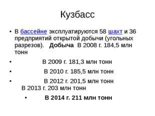 Кузбасс Вбассейнеэксплуатируются 58шахти 36 предприятий открытой добычи (