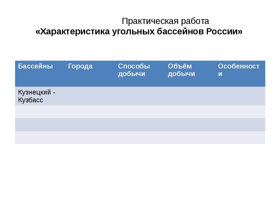 Практическая работа «Характеристика угольных бассейнов России» Бассейны Г...