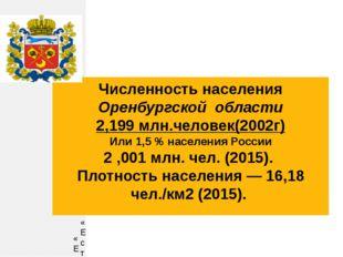 Численность населения Оренбургской области 2,199 млн.человек(2002г) Или 1,5 %