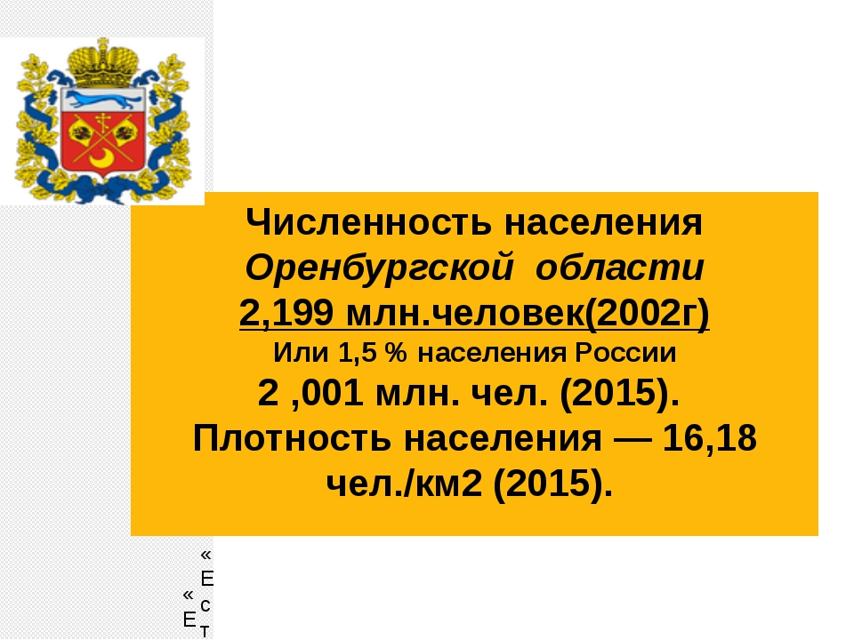 Численность населения Оренбургской области 2,199 млн.человек(2002г) Или 1,5 %...