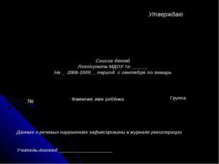 Список детей Логопункта МДОУ № ______ На _ 2008-2009__ период с сентября по я