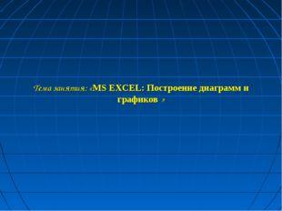 Тема занятия: «MS EXCEL: Построение диаграмм и графиков »