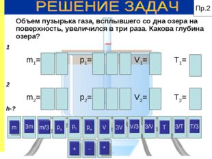 Пр.2 3m m/3 p0 pж V 3V V/3 3/V 3/T T/3 3m p0 V/3 3/V 3/T T/3 + * * m pa + pж