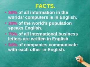 FACTS. 80% of all information in the worlds' computers is in English. 20% of