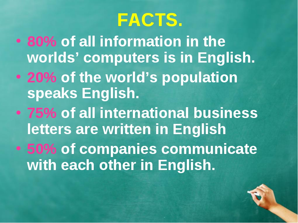 FACTS. 80% of all information in the worlds' computers is in English. 20% of...