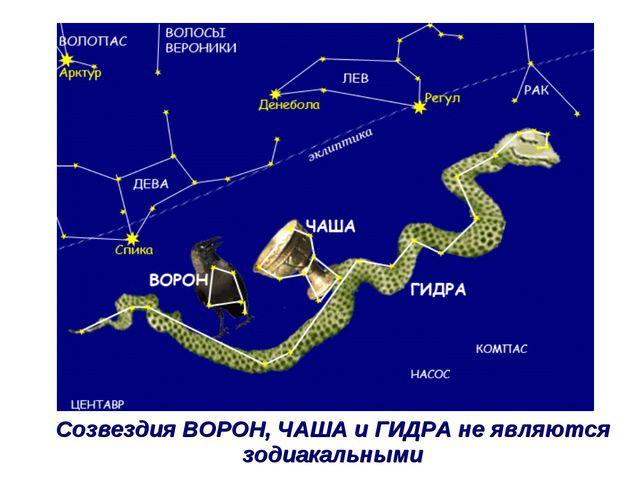 Созвездия ВОРОН, ЧАША и ГИДРА не являются зодиакальными