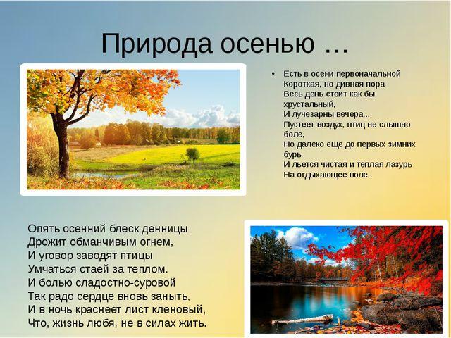 Природа осенью … Есть в осени первоначальной Короткая, но дивная пора Весь де...