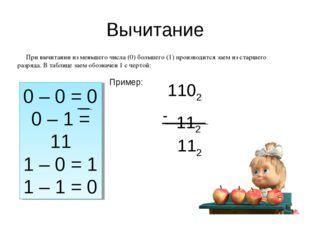 Вычитание 0 – 0 = 0 0 – 1 = 11 1 – 0 = 1 1 – 1 = 0 При вычитании из меньшего