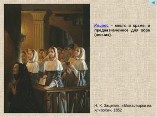 Клирос – место в храме, и предназначенное для хора (певчих). Н.К.Зацепин. «