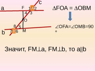 FOA = ОВМ b 1 2 3 4 5 6 7 8 а с А В О F М OFA=OMB=90 Значит, FMа, FMb,