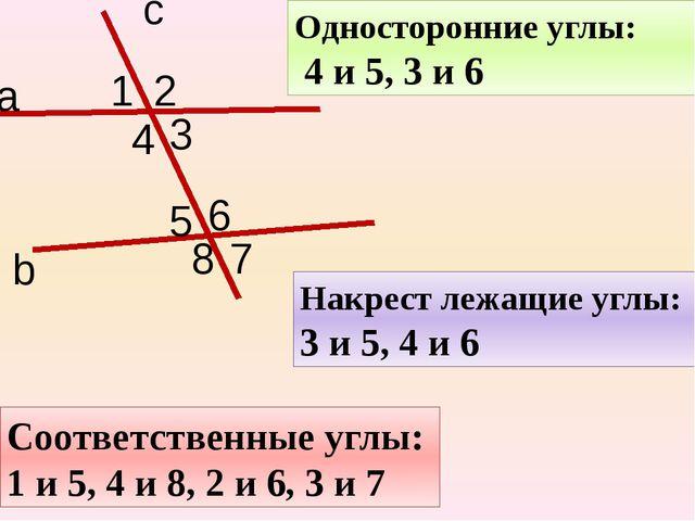 с а b 1 2 3 4 5 6 7 8 Накрест лежащие углы: 3 и 5, 4 и 6 Односторонние углы:...