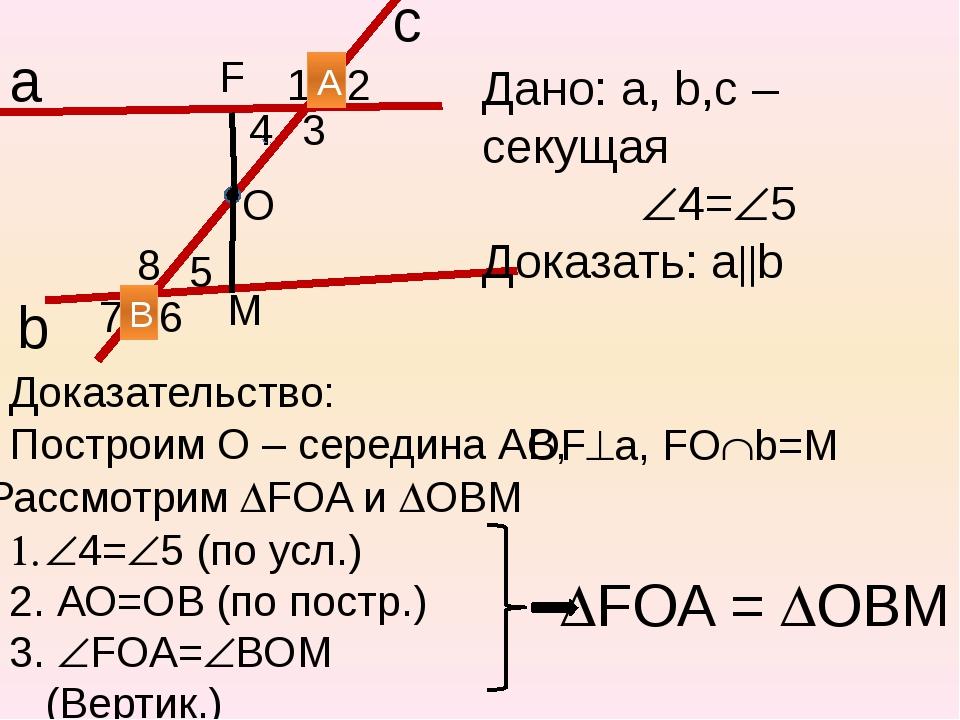 b 1 2 3 4 5 6 7 8 Дано: а, b,с – секущая 4=5 Доказать: аb а с 4=5 (по у...