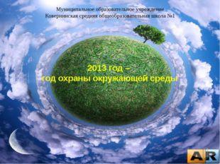 2013 год – год охраны окружающей среды Муниципальное образовательное учрежден