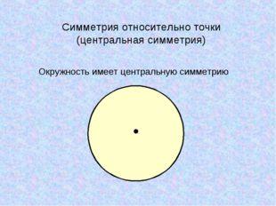 Окружность имеет центральную симметрию Симметрия относительно точки (централь
