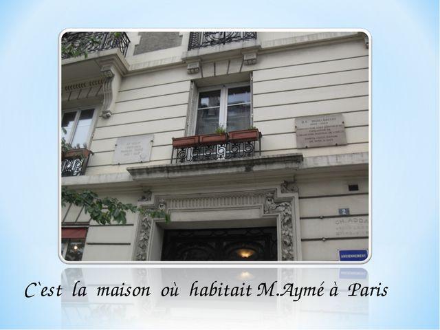 C`est la maison où habitait M.Aymé à Paris