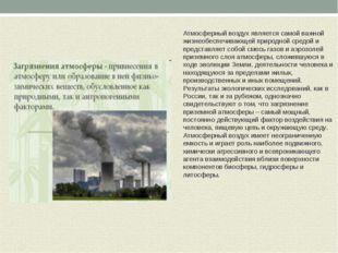Атмосферный воздух является самой важной жизнеобеспечивающей природной средой