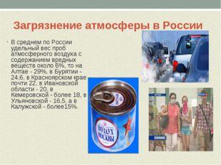 Загрязнение атмосферы в России В среднем по России удельный вес проб атмосфер