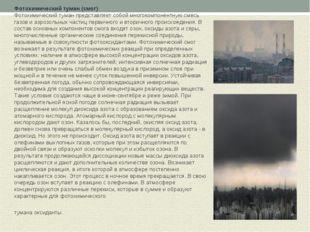 Фотохимический туман (смог) Фотохимический туман представляет собой многокомп