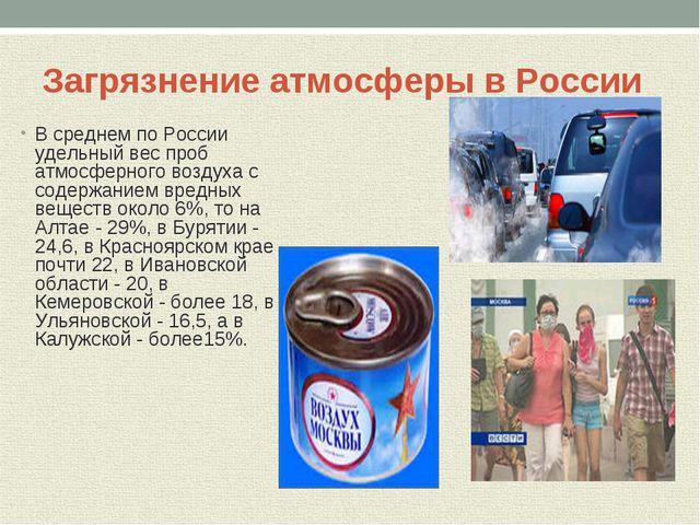 Загрязнение атмосферы в России В среднем по России удельный вес проб атмосфер...