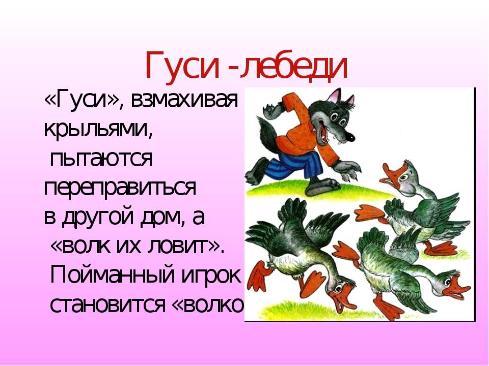 Гуси -лебеди «Гуси», взмахивая крыльями, пытаются переправиться в другой дом,...
