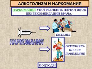 АЛКОГОЛИЗМ И НАРКОМАНИЯ НАРКОМАНИЯ-УПОТРЕБЛЕНИЕ НАРКОТИКОВ БЕЗ РЕКОМЕНДАЦИИ В